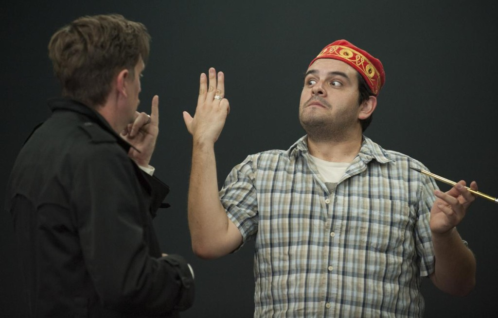 Christopher Sullivan, left, and Sean Burgos, right, in Alfred Hitchcock's 'The 39 Steps'  in Modjeska Playhouse in Lake Forest.