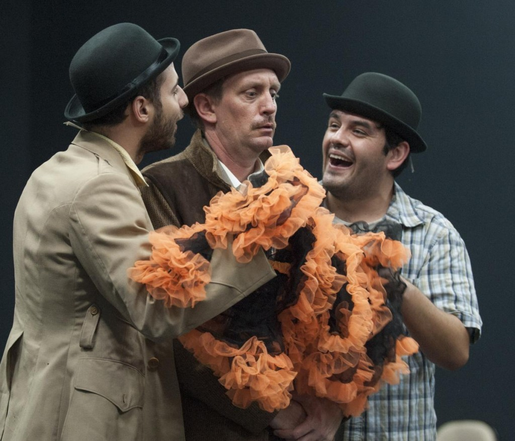 Matt Dallal, Christopher Sullivan and Sean Burgos in Alfred Hitchcock's 'The 39 Steps'  in Modjeska Playhouse in Lake Forest.