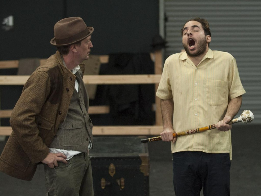 Christopher Sullivan, left, and Matt Dallal in Alfred HitchcockÕs 'The 39 Steps'  in Modjeska Playhouse in Lake Forest.