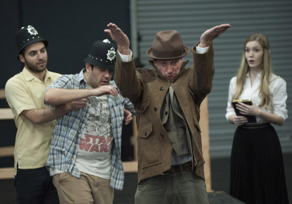 Matt Dallal, from left, Sean Burgos, Christopher Sullivan and Hailey Tweter in Alfred Hitchcock's 'The 39 Steps'  in Modjeska Playhouse in Lake Forest.